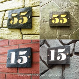 Large Number Stone Signs