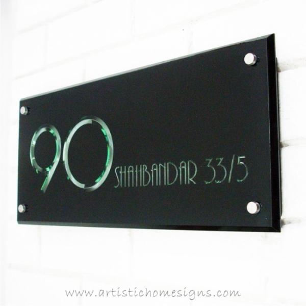 3D Engraving Edge Lit Growing Illuminated Acrylic LED Light House Number Address Sign