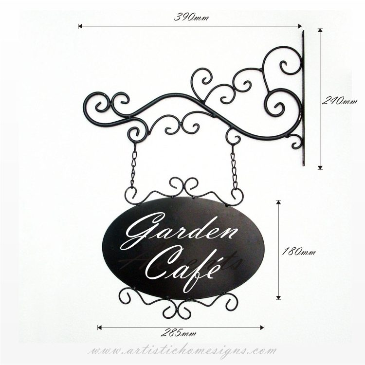Powder coated hanging oval metal sign