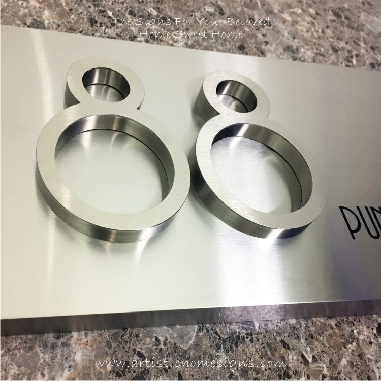 3D Numbers Etching Address Sign Plaque 88