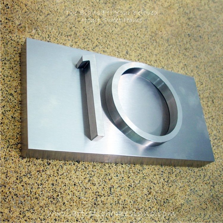 3D Stainless Steel Numbers Address Sign Plaque 10 01