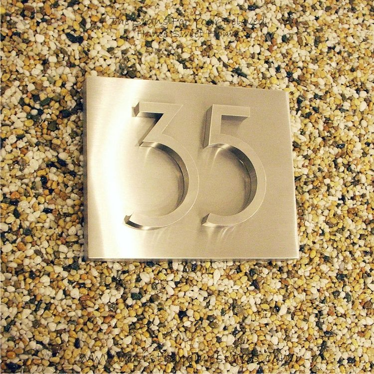 3D Stainless Steel Numbers Address Sign Plaque 35 02