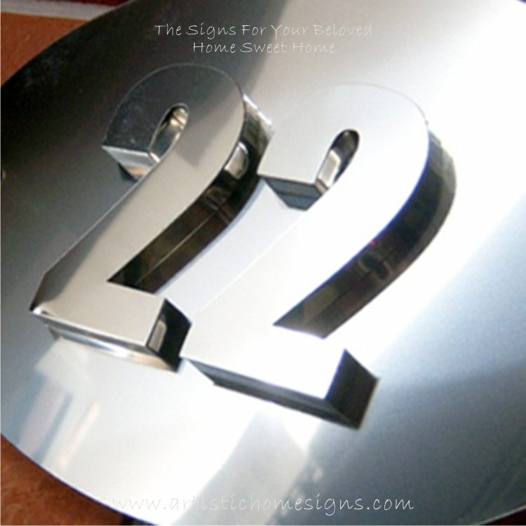 3D Stainless Steel Numbers Oval Sign Plaque 22 01