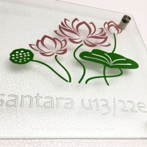 Etching Glass Sign Silver Letters Lotus