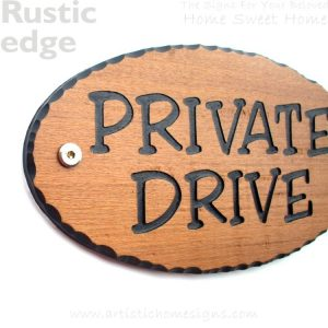 WDO-145 Wooden Sign Black Letters - Private Drive