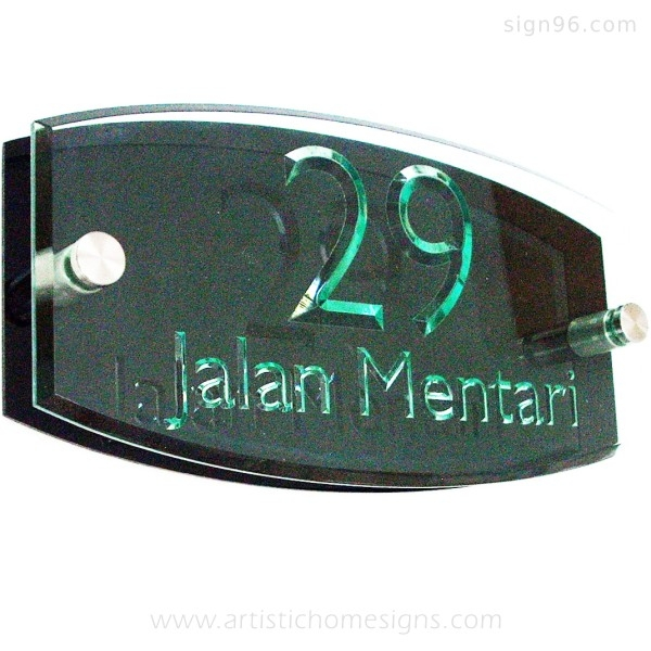 Tinted Green Acrylic With Clear Letters & Black Background Board