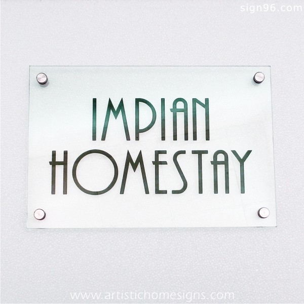 Etching Glass Sign Green Letters