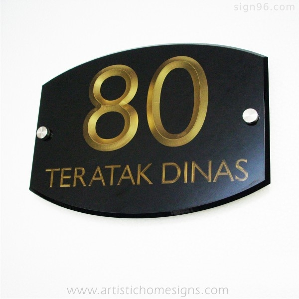 Black Acrylic With Gold Letters