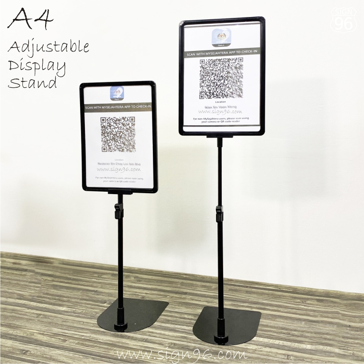 A4 POP Advertising Poster Frame Adjustable Display Stand MySejahtera For A4 Print FRM-250 My Sejahtera MCO CMCO SOP A4 QR Code Scan Prints Malaysia