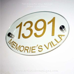 Etching Glass Sign Gold Letters