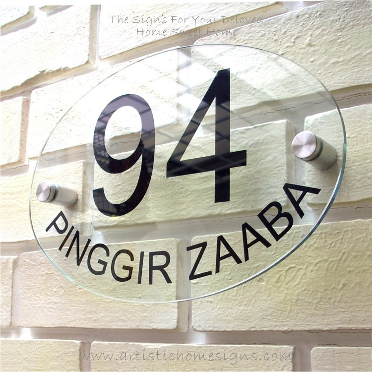 Etching Glass Sign Black Letters