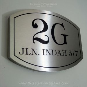 Elliptical Trim Etching House Sign 2G