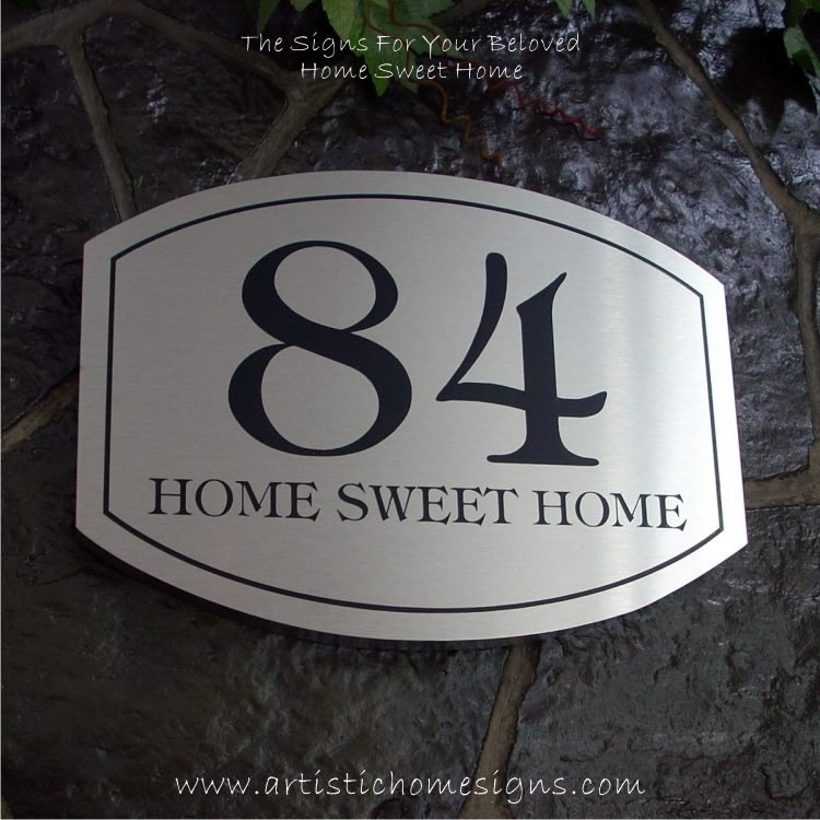 Elliptical Trim Etching House Sign 84