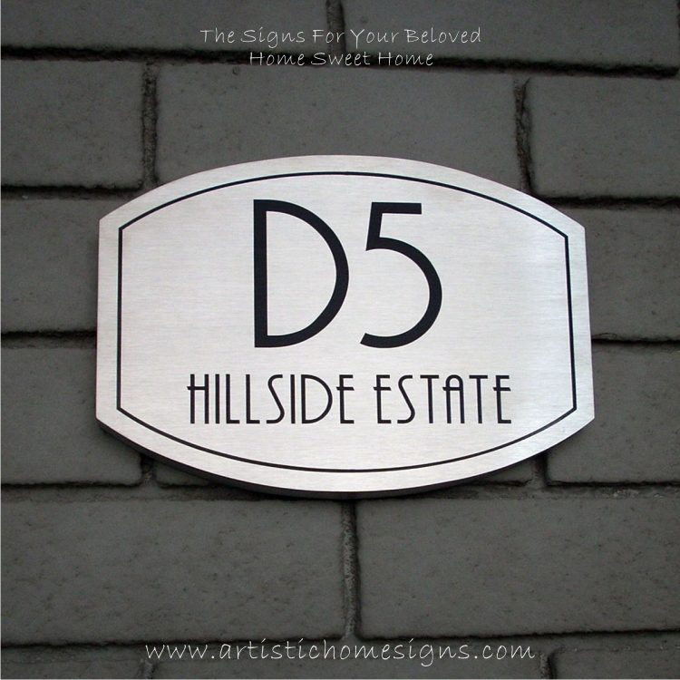 Elliptical Trim Etching House Sign D5