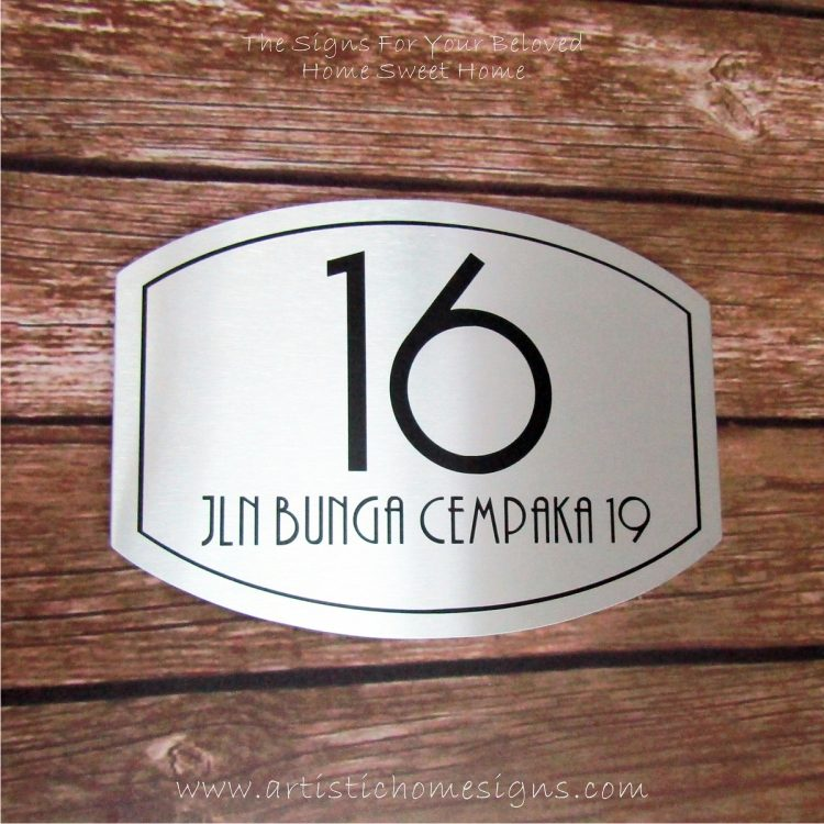 Elliptical Trim Etching House Sign 16
