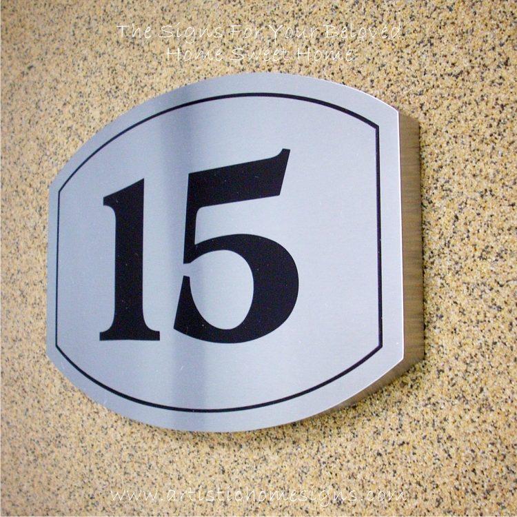 Elliptical Trim Etching House Sign 15