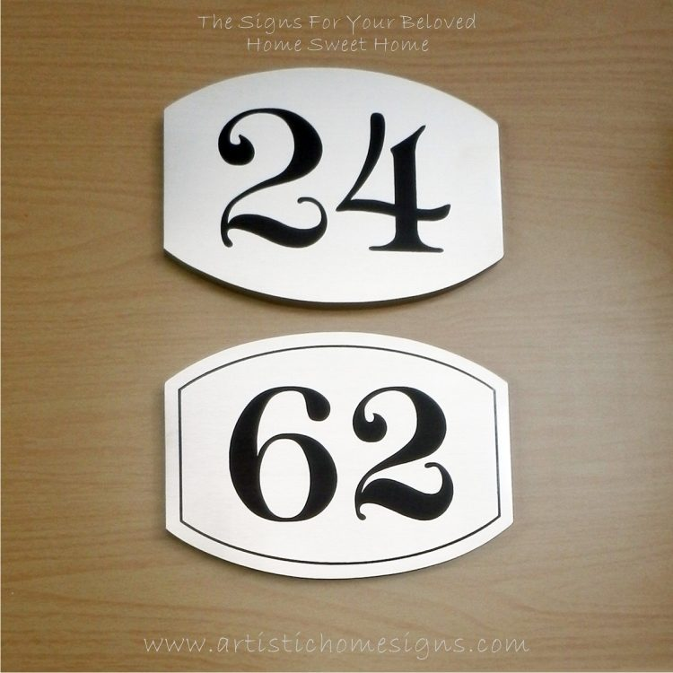 Elliptical Trim Etching House Sign 24