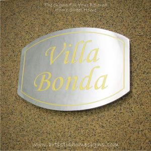 Elliptical Trim Etching House Sign Gold Letters