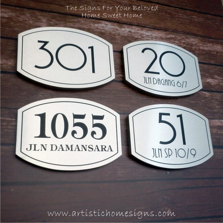 Elliptical Trim Etching House Sign 301