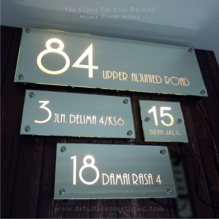 Illuminated Glass Illuminated Glass Mirror House Number Address Signs-Night View