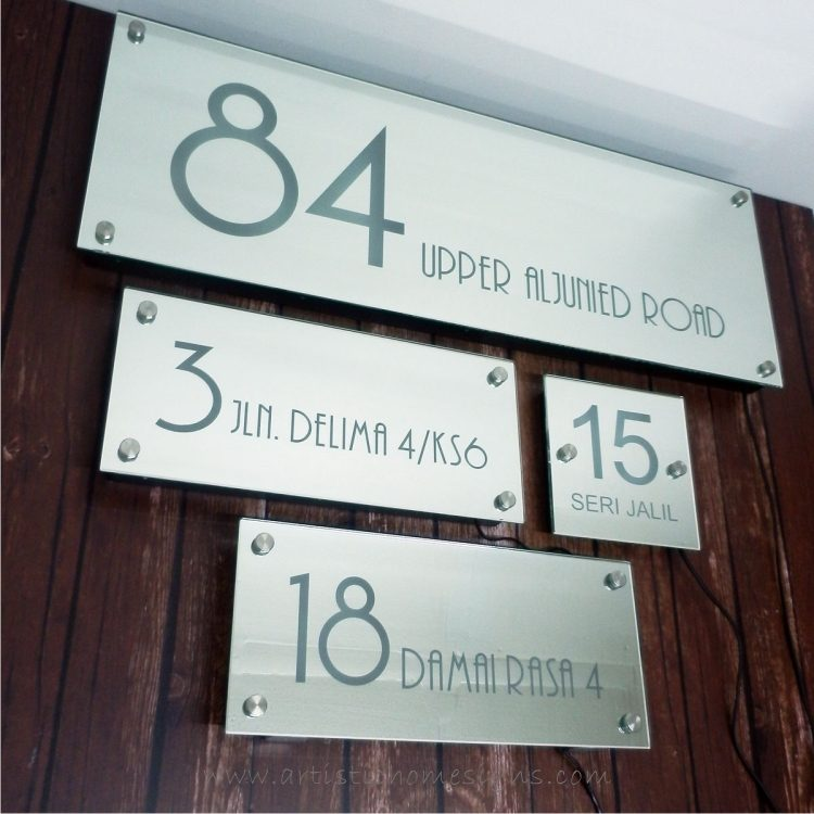Illuminated Glass Mirror House Number Address Signs-Day View