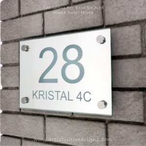 Illuminated Glass Mirror House Number Address Signs 28-Day View