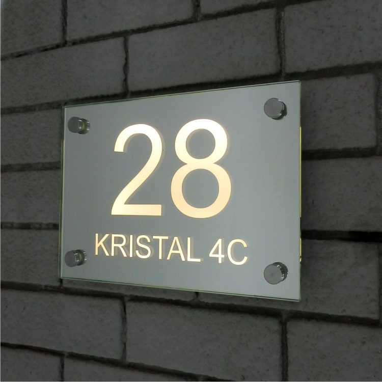 Illuminated Glass Mirror House Number Address Signs-28 Warm White