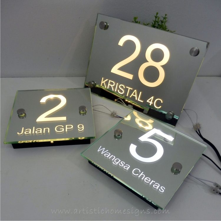Illuminated Glass Mirror House Number Address Signs 28
