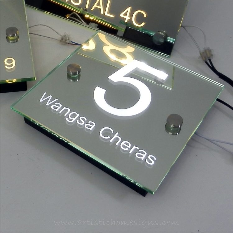 Illuminated Glass Mirror House Number Addrss Signs-White LED