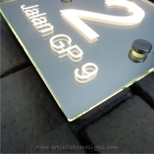 Illuminated Glass Mirror House Number Addrss Signs-Warm White