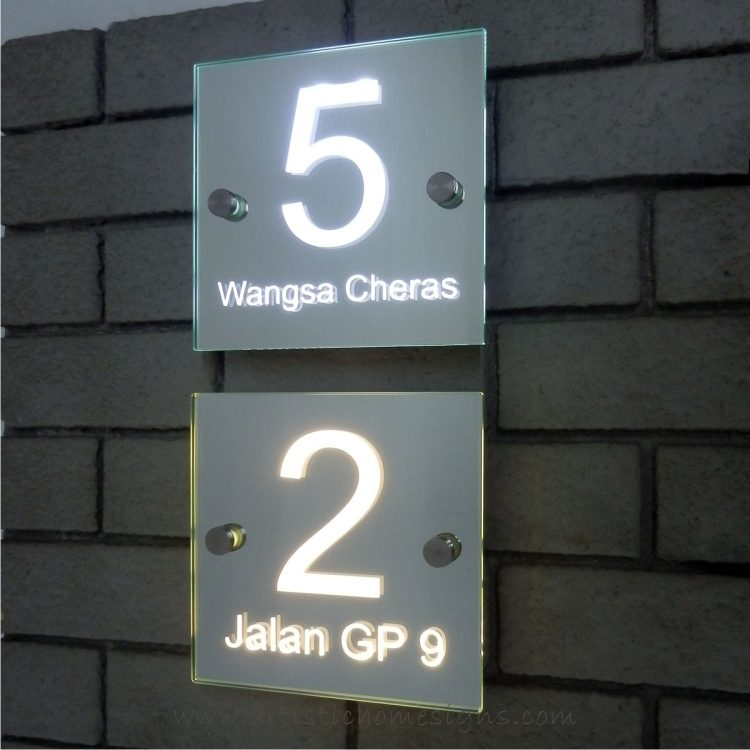 Illuminated Glass Mirror House Number AddrEss Signs