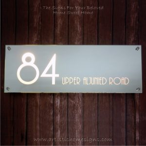 Illuminated Glass Mirror House Number Address Signs 84 - Warm White