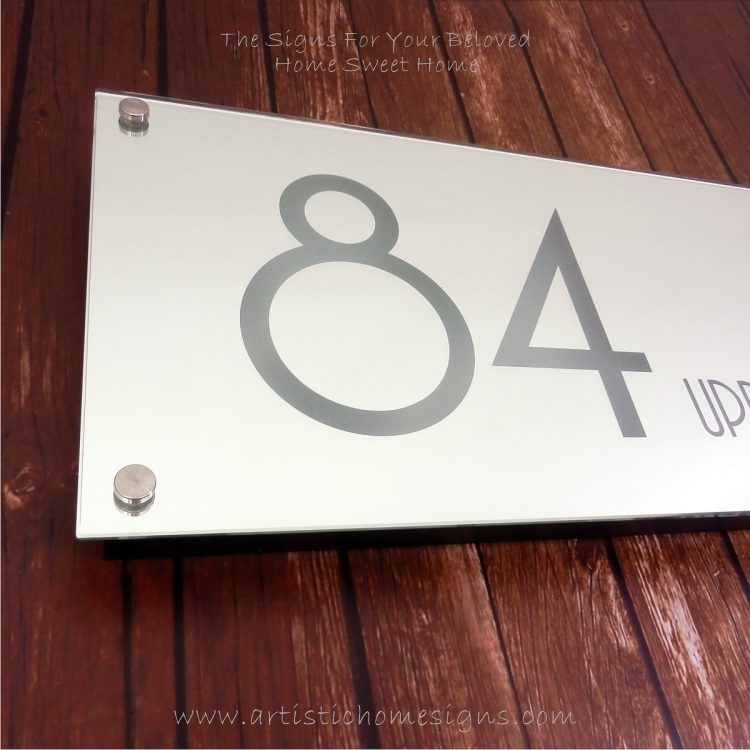 Illuminated Glass Mirror House Number Address Signs 84 - Day View