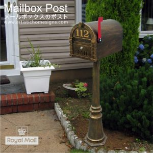 Antique Bronze Elegant Mailbox Post Floor Mounted Letterbox Custom Made In Malaysia