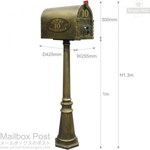 Antique Bronze Mailbox Post Size & Dimension