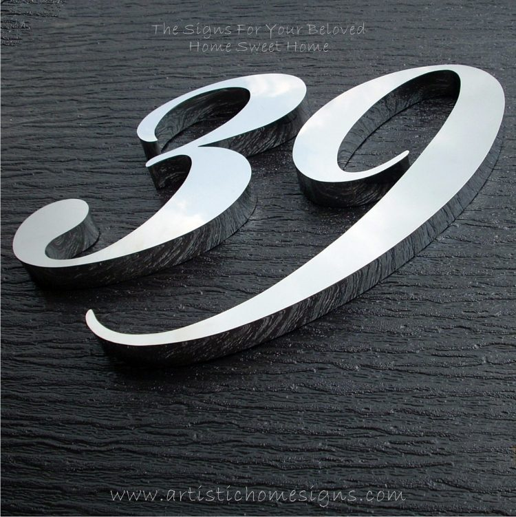MODERN STAINLESS STEEL HOUSE NUMBER Cursive Font Gloss Polish Finished 39