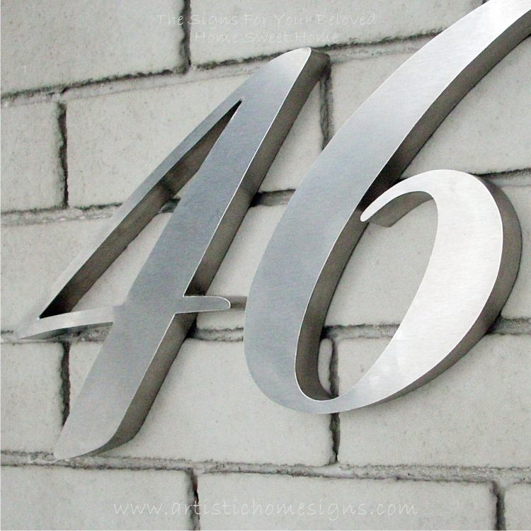 MODERN STAINLESS STEEL HOUSE NUMBER Cursive Font Satin Finished 46