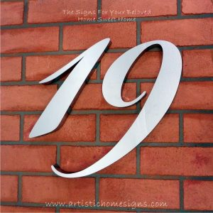 MODERN STAINLESS STEEL HOUSE NUMBERS Cursive Font Gloss Polish Finished 19