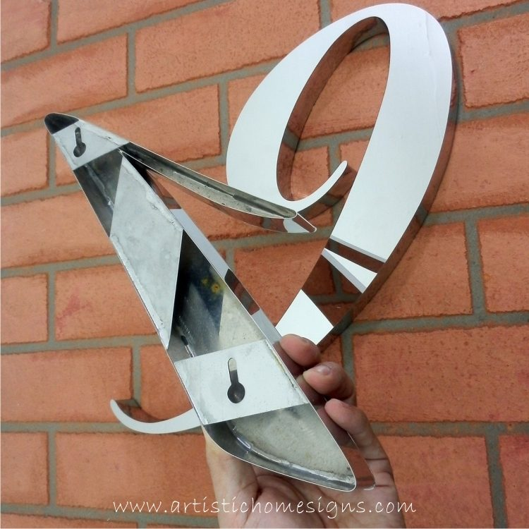 MODERN STAINLESS STEEL HOUSE NUMBERS Cursive Font Gloss Polish Finished 19 Key Hole Mounted