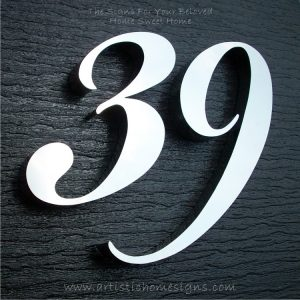 MODERN STAINLESS STEEL HOUSE NUMBERS Cursive Font Gloss Polish Finished 39