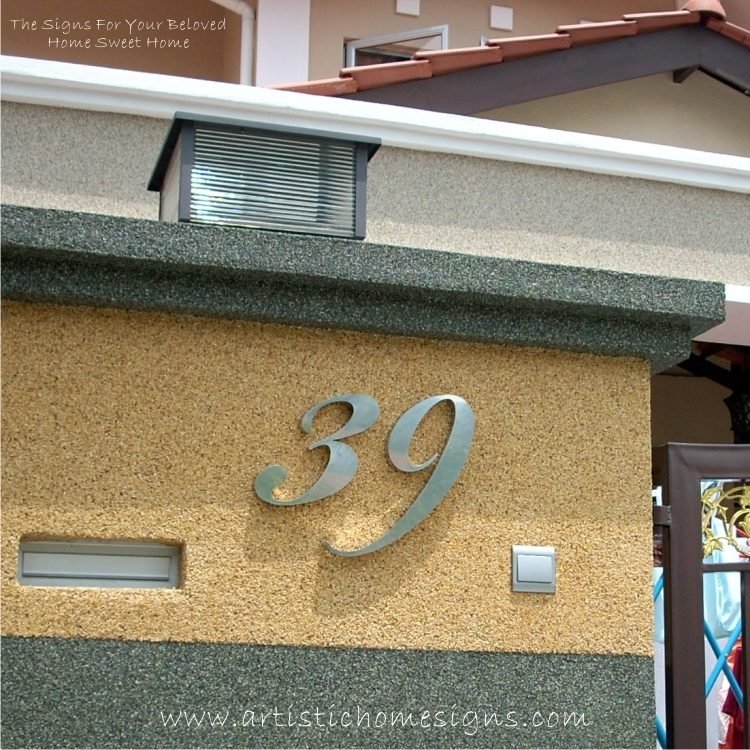 MODERN STAINLESS STEEL HOUSE NUMBERS Cursive Font Gloss Polish Finished 39 Home
