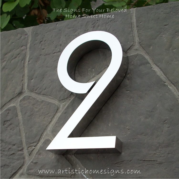 MODERN STAINLESS STEEL HOUSE NUMBERS Standard Font 2