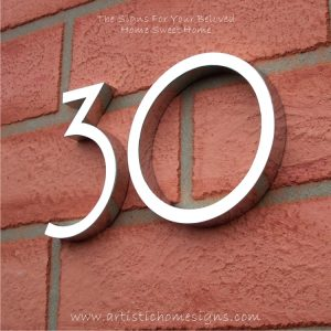MODERN STAINLESS STEEL HOUSE NUMBERS Standard Font 30
