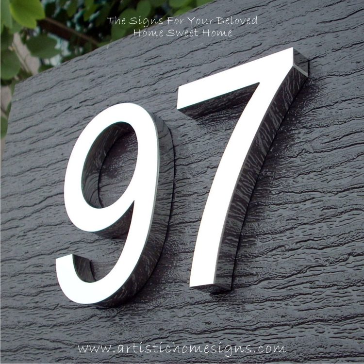 MODERN STAINLESS STEEL HOUSE NUMBERS Standard Font 97