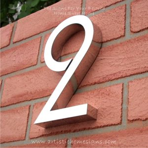 MODERN STAINLESS STEEL HOUSE NUMBERS Standard Font Huxley 2