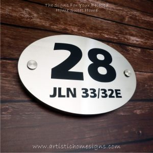 Oval Etching SS House Sign 28