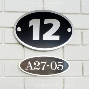 Oval Etching Black Base SS House Sign 12