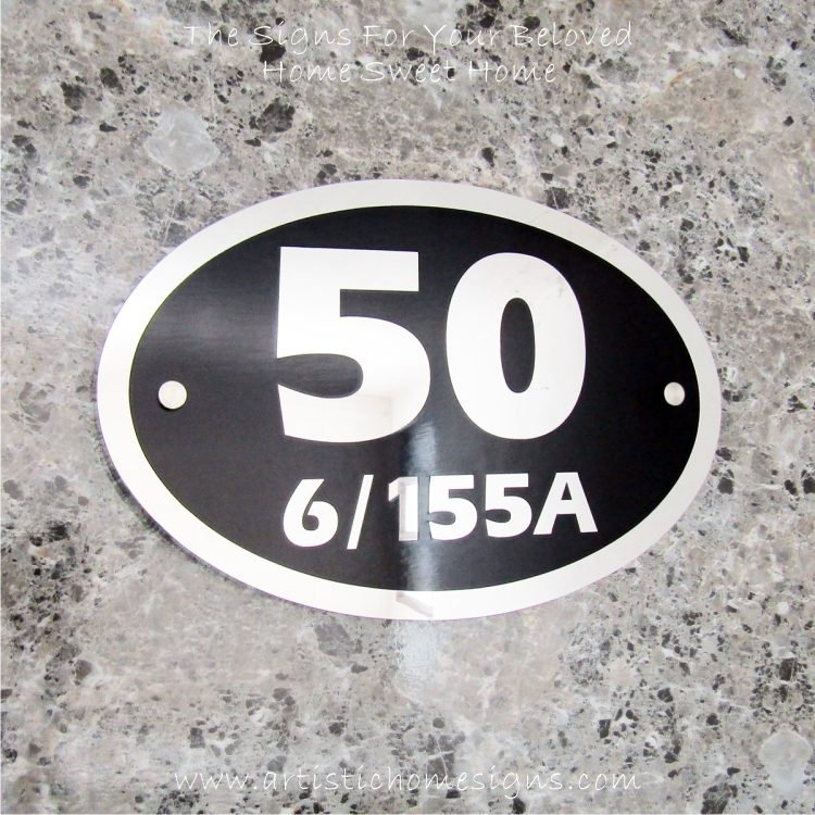 Oval Etching SS House Sign 50