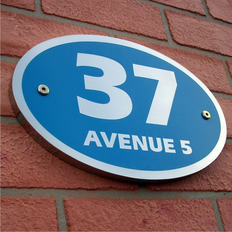 Oval Etching Blue Base SS House Sign 37