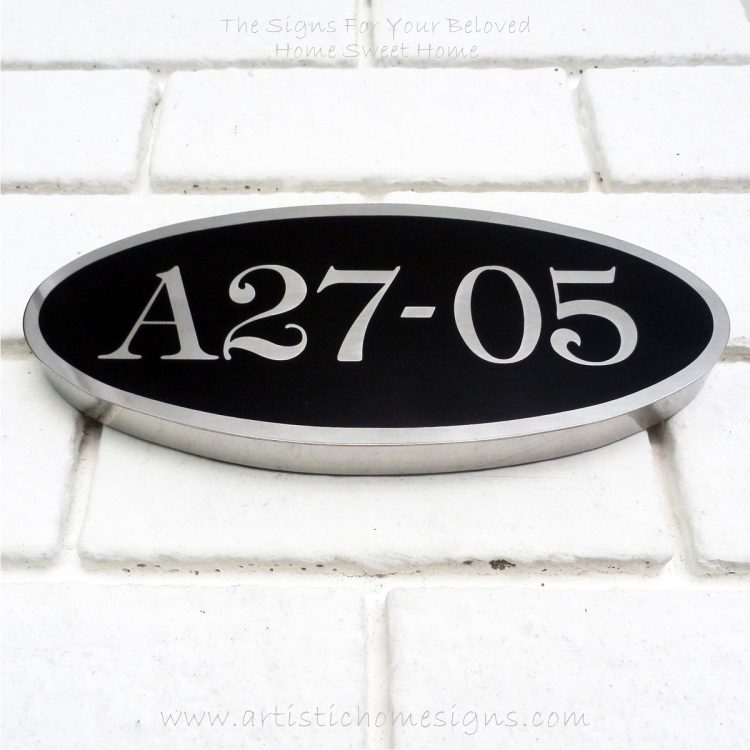 Oval Etching Back SS House Sign A27-05